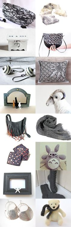 Shades of Gray by Julia on Etsy Lovely Etsy Treasury by WhimZingers with unique gift ideas.... Lovely handmade Scarf by Fibernique and cute black and white cat bed basket.... --Pinned+with+TreasuryPin.com
