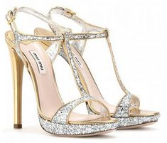 Sandali glitterati Miu Miu