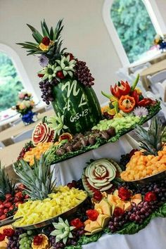 Wedding Food Bountiful Fruit Display with Personalized Watermelon Carving - Fruit Tables, Fruit Buffet, Fruit Trays, Fruit Display Tables, Fruit Salads, Veggie Display, Veggie Tray, Veggie Food, Catering Display
