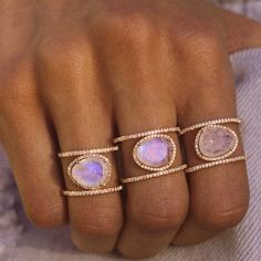 14kt rose gold and diamond Double Band Moonstone ring – Luna Skye by Samantha Conn | add to cart arrr ;)
