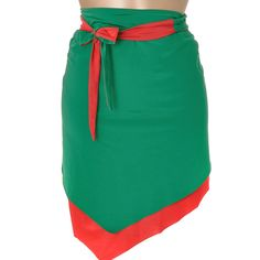 LA PERLA GREEN RED Double Sided Beach Skirt ($83) ❤ liked on Polyvore