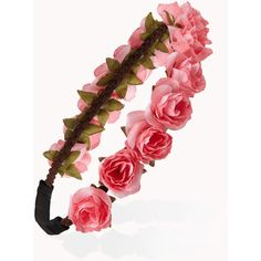FOREVER 21 Rosebud Flower Crown (9.16 CAD) ❤ liked on Polyvore featuring accessories, hair accessories, headbands, hair, flower crown, pink, rose flower crown, braid crown, braided headband and headband hair accessories