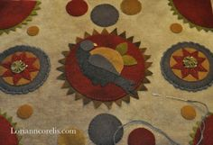 Wool on wool applique . . . one of my favorite forms of stitching! Gorgeous colors.
