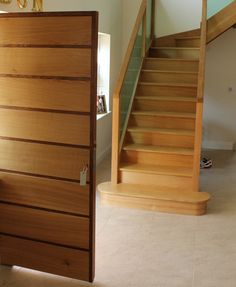 Oak front door and staircase. woodprojects .co.uk