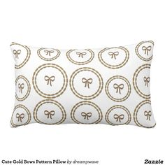 Cute Gold Bows Pattern Pillow