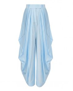 Sky blue dhoti pants. Wash Care: Dry clean onlyTop worn the model is only for styling purposeClosure: Front hooks and zip