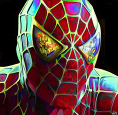A fan art painting of Spiderman with a colorful twist by Nicky Barkla Comic Book Characters, Comic Books Art, Comic Art, Marvel Avengers, Marvel Heroes, Marvel Comics, Arte Pop, Geek Culture, Pop Culture