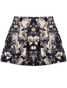 Falda floral cintura elástica-Negro EUR€15.77