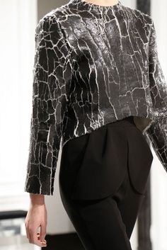 Cracked leather sweater with curved hem - bold fashion details; crackled surface; textured leather // Balenciaga