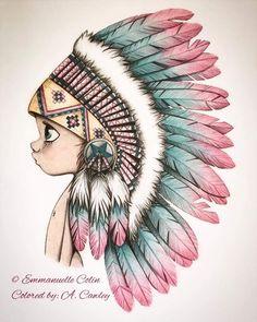 Cool Art Drawings, Pencil Art Drawings, Art Drawings Sketches, Disney Drawings, Color Pencil Sketch, Native American Art, Disney Art, Colored Pencils, Amazing Art