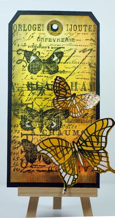 Eileen's Crafty Zone: PanPastels,Tim Holtz Stamps and a Digi Butterfly