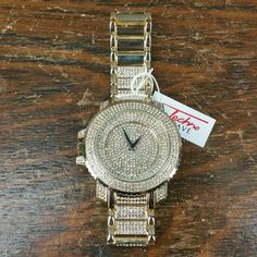 Men's ICED OUT Watch GOLD TONE Large Face Band Crystal Hip Hop BLING Ships Free! #TechnoPave #Fashion