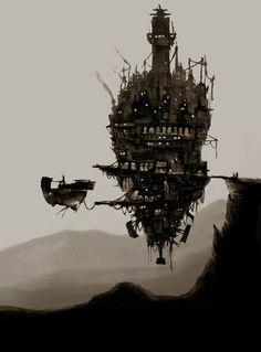 by Bzzz88 - http://bzzz88.deviantart.com/art/flying-city-201570090?q=boost:popular%20in:digitalart/drawings/landscapes%20steampunk&qo=65