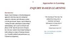 Inquiry-based learning briefly explained by Lutheren Education Queensland