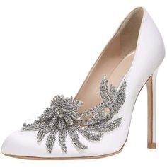 Manolo Blahnik Swan Embellished Satin Pump ($1,295) ❤ liked on Polyvore featuring shoes, pumps, heels, wedding, white, almond toe shoes, manolo blahnik, embellished pumps, embellished heel pumps and decorating shoes