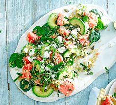 Quinoa, toasted pumpkin seeds, feta and ripe watermelon make a fabulous and filling vegetarian supper that counts as 3 of your 5-a-day