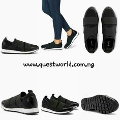 Black Slip-On Elastic Trainers size 7/41 #12000  www.questworld.com.ng QW1000 for #1000 off orders above #15000. Nationwide Delivery