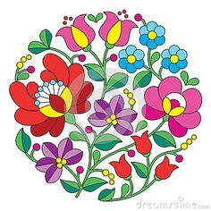 Bordado de Kalocsai - modelo popular floral redondo húngaro