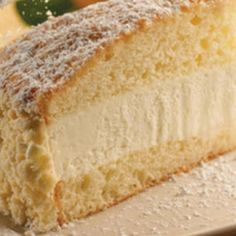 Copy cat recipe of Olive Garden's Lemon Cream Cake. Copy cat recipe of Olive Garden's Lemon Cream Cake. Olive Garden Lemon Cream Cake Recipe, Olive Garden Recipes, Italian Lemon Cream Cake Recipe, Olive Garden Desserts, Lemon Desserts, Lemon Recipes, Just Desserts, Ricotta Cheese Desserts, Italian Desserts