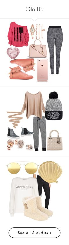 """""""Glo Up"""" by kashbley ❤ liked on Polyvore featuring Topshop, BUSCEMI, Michael Kors, Anne Klein, Pink, michaelkors, iphone, Leggings, inmybag and Madewell"""