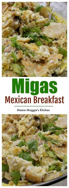 Mexican Breakfast Migas - easy recipe for Sunday Brunch by Mama Maggie's Kitchen. Mexican Breakfast Migas – easy recipe for Sunday Brunch by Mama Maggie's Kitchen. Mexican Brunch, Mexican Breakfast Recipes, Mexican Food Recipes, Healthy Recipes, Mexican Dinners, Mexican Cooking, Breakfast For Dinner, Best Breakfast, Breakfast Ideas