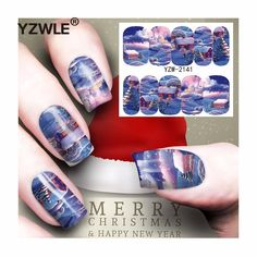 [Visit to Buy] YZWLE 1 Sheet Christmas Design DIY Decals Nails Art Water Transfer Printing Stickers Accessories For Manicure Salon (YZW-2141) #Advertisement