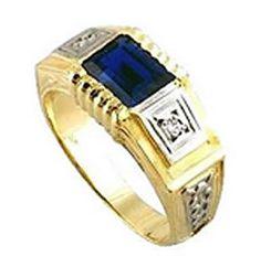 Anel Formatura administração de empresa em ouro 18k 750 1 pedra azul semi preciosa ao centro 2 zirconia branca