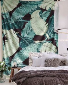 Banana Leaf Tapestry. Tropical decor. Leaf pattern design home decor.