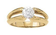 Split shank solitaire diamond engagement ring. Yellow gold.  Overnight 80131 #seneedhamjewelers #loganutah