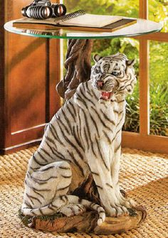 End Table White Tiger Statue with Round Glass Top Man Cave Den Living Room
