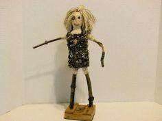 outsider artist art doll fabric doll twig doll by AgoVintage