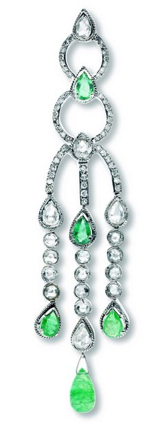Rosendorff Green With Envy Collection Antique Cut Emerald and Diamond Chandelier Earring