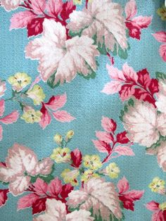 Vintage barkcloth floral on turquoise background .. pretty!
