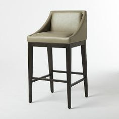Curved Leather Bar + Counter Stool - Elephant   west elm