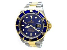 Gents Rolex 18K Gold & Stainless Steel Oyster Perpetual Submariner Watch. Blue Dial. 18K Yellow Gold Bezel, blue insert. 18K Gold & Stainless Steel Oyster Band. Style 16613.   Metal:  TWO-TONE  Order Item:  29702  Style:  SUBMARINER  Gender:  GENTS  Band:  TWO-TONE   Dial:  BLUE  Bezel:  BLUE  Crystal:  SAPPHIRE  Movement:  AUTO  List Price:  $9,300  Our Price: call for price