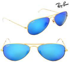 Ray-Ban Unisex Large Blue Mirror Aviator Sunglasses