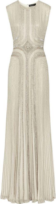 Jenny Packham Embellished silk-chiffon gown