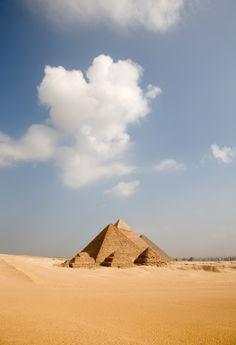 long view pyramids sunrise, Giza Egypt