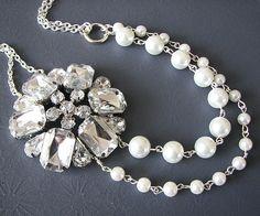 Wedding Necklace Bridal Jewelry Pearl Necklace Wedding Jewelry. $38.00, via Etsy.