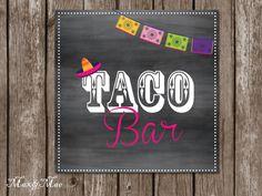 Taco Bar Sign, Fiesta Party, Taco Sign, Fiesta Decorations, Digital