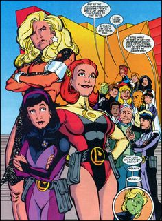 All-girl recruits: Andromeda, Shrinking Violet, and Kinetix. From Legion v.4 #66 (1995). Art by Lee Moder.
