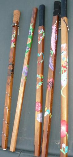 Hand-painted walking sticks. I want one.