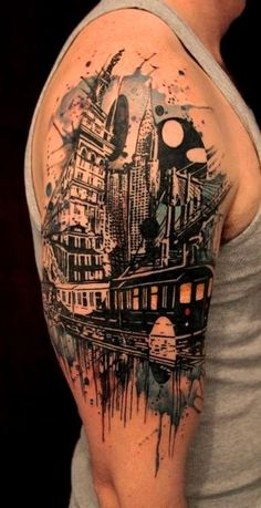 Tattoo: New York City; unbelievable! This would be perfect for my sleeve but with New Orleans!