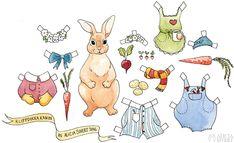 Alicia Sivert: Monthly Makers oktober/leksaker: kanin-klippdocka att skriva ut + färglägga