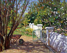 The Artist's Spring Garden by Roelof Rossouw Spring Art, Spring Garden, Garden Painting, Garden Art, Fence Design, Garden Design, Garden Gates And Fencing, Fence Garden, Fences