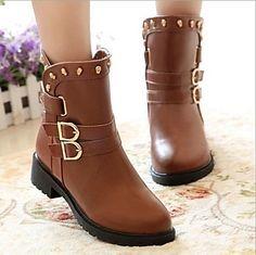 zapatos de las mujeres combatir talón plano de las botas de cuero del tobillo con zapatos de hebilla más colores disponibles - USD $ 15.99