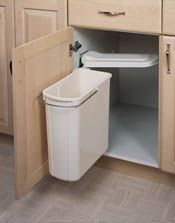 20 Liter Pivot-Out Waste Container  •Designed for frameless cabinets, but can be slightly modified to work in face frame applications