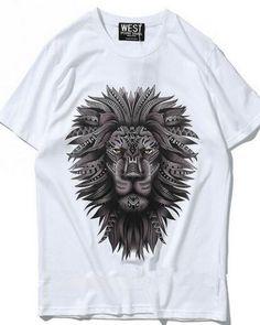 Geometric lion t shirt hip hop animal face tee for men
