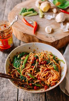 Lao Gan Ma Noodles & Godmother Sauce The Woks of Life is part of pizza - This Lao Gan Ma Noodle recipe uses the godmother of all sauce brands If you've never heard of The Godmother's Chili Crisp Sauce or Black Bean Sauce Vegetarian Recipes, Cooking Recipes, Healthy Recipes, Wok Of Life, Asian Recipes, Ethnic Recipes, Asian Cooking, Noodle Recipes, Food Photography