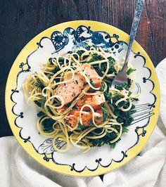 Salmon with Rutabaga Noodles and Shallot Herb Sauce